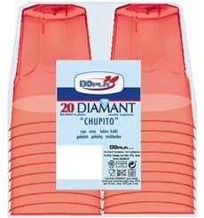 """Copo Plastico Shot """"Diamant"""" PS Vermelho Transp. Cristal 50ml (20 Uds)"""