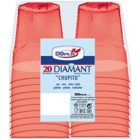 """Copo Plastico Shot """"Diamant"""" PS Vermelho Transp. Cristal 50ml (600 Uds)"""