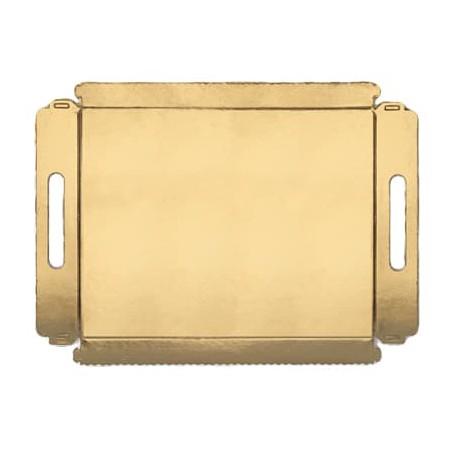 Bandeja carton con asas metalizada 12x19cm (5 Unidades)
