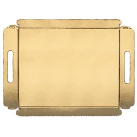 Bandeja Cartão Retângulo Ouro Asas 16x23 cm (100 Uds)
