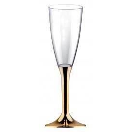 Copo PS Flute Champanhe Ouro Cromo 120ml (200 Uds)