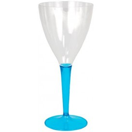 Copo Plastico Vinho Pé Trurquesa 130 ml (6 Unidades)