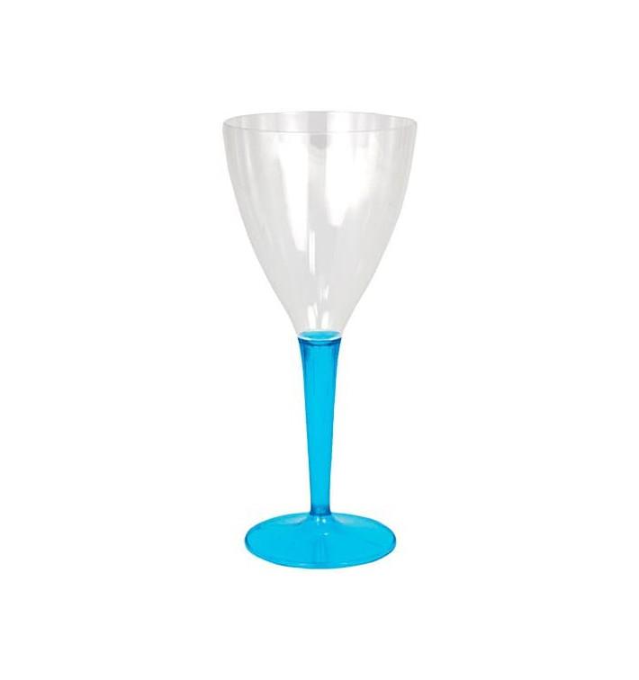 Copo Plastico Vinho Pé Trurquesa 130 ml (6 Uds)