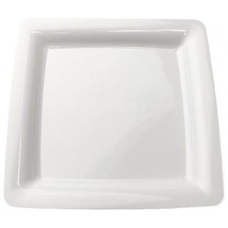 Prato Rigido Quadrado Branco 23x23cm (20 Uds)