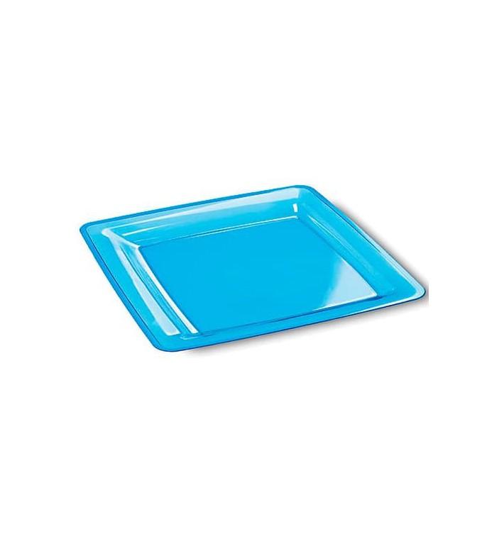 Prato Plastico Rigido Quadrado Turquesa 22,5x22,5cm (6 Uds)