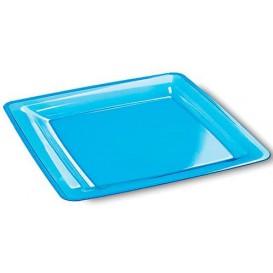 Prato Plastico Rigido Quadrado Turquesa 22,5x22,5cm (72 Uds)