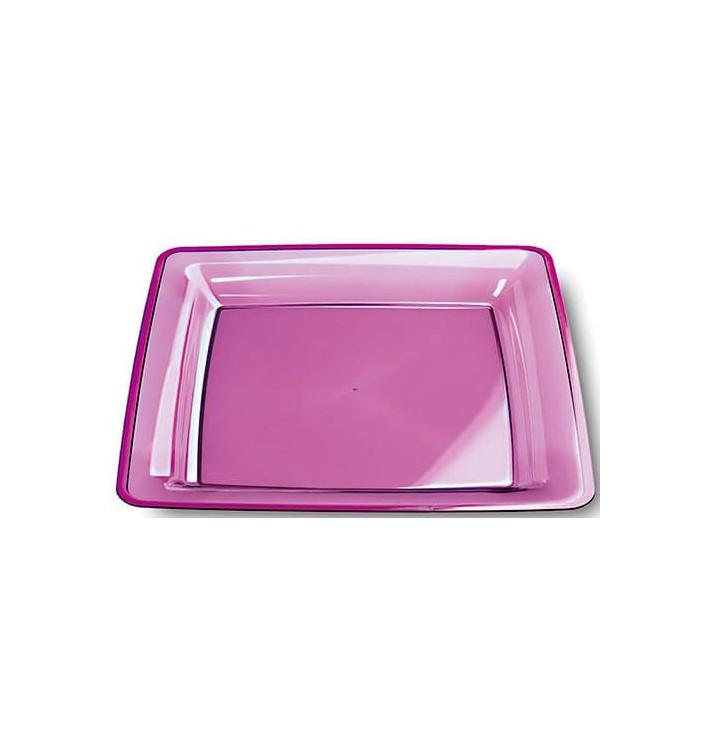 Prato Plástico Rigido Quadrado Beringela 22,5x22,5cm (72 Uds)