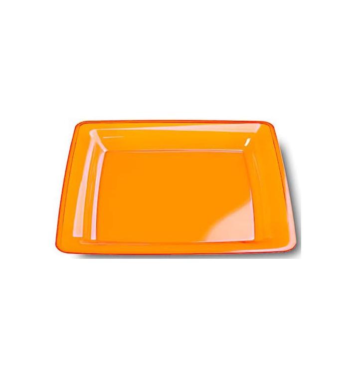 Prato Plastico Rigido Quadrado Laranja 22,5x22,5cm (6 Uds)