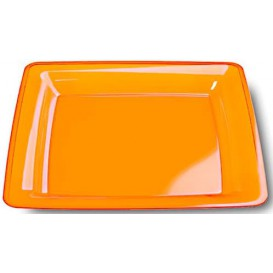 Prato Plastico Rigido Quadrado Laranja 22,5x22,5cm (72 Uds)