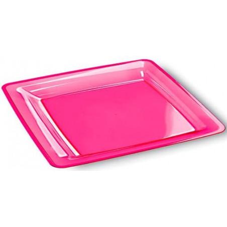 Prato Plástico Rigido Quadrado Framboesa 18x18 (6 Uds)