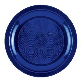 Prato Plastico Raso Azul Round PP Ø185mm (50 Uds)