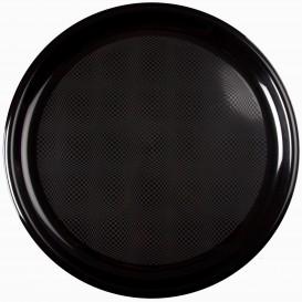 Prato de Plastico para Pizza Preto Round PP Ø350mm (12 Uds)