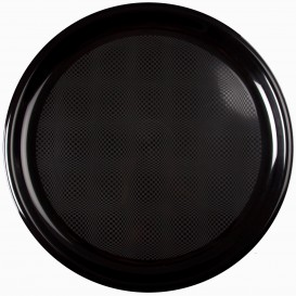 Prato de Plastico para Pizza Preto Round PP Ø350mm (144 Uds)