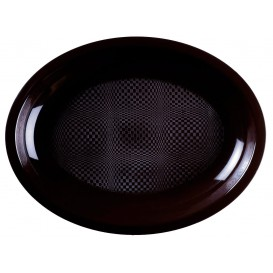 Bandeja de Plastico Oval Preto Round PP 315x220mm (300 Uds)
