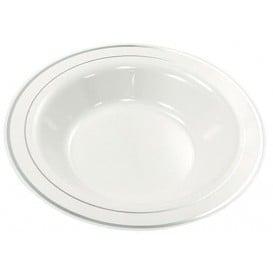 Prato Plástico Rigido Bordo Prata 23cm (20 Uds)