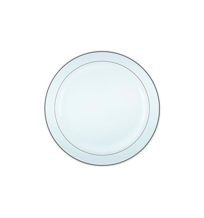 Prato Plástico Rigido Bordo Prata 26cm (20 Uds)