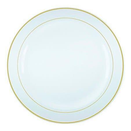 Prato Plástico Rigido Bordo Ouro 19cm (20 Uds)
