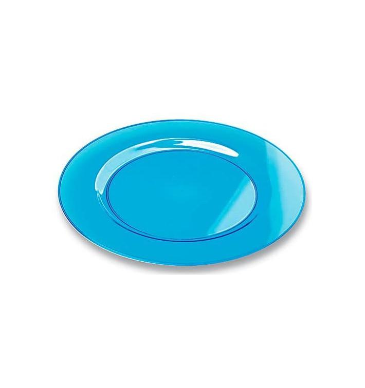 Prato Plástico Rigido Redondo Turquesa 26cm (6 Uds)