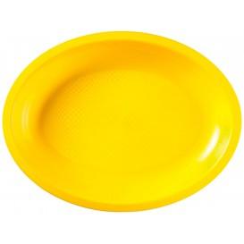Bandeja de Plastico Oval Amarelo Round PP 315x220mm (300 Uds)