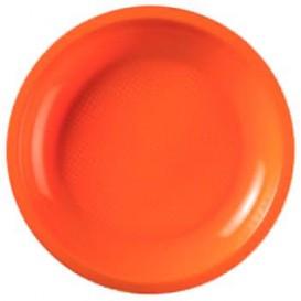 Prato Plastico Raso Laranja Round PP Ø220mm (50 Uds)