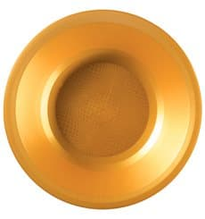 Prato de Plastico Fundo Ouro Round PP Ø195mm (25 Uds)