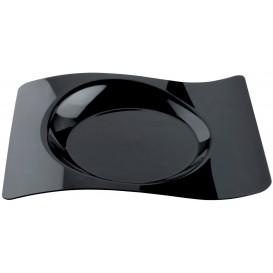 """Prato Plastico """"Forma"""" Preto 28x23 cm (12 Unidades)"""