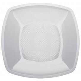 Prato Plastico Liso Branco 180mm (25 Uds)