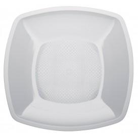 Prato Plastico Liso Branco 230mm (25 Uds)