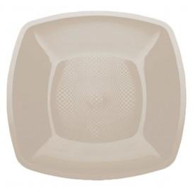 Prato Plastico Raso Bege Square PP 180mm (150 Uds)