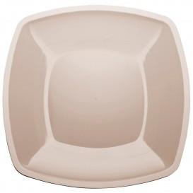 Prato Plastico Raso Bege Square PS 300mm (144 Uds)