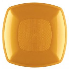 Prato Plastico Raso Ouro Square PP 230mm (12 Uds)