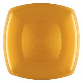 Prato Plastico Raso Ouro Square PS 300mm (12 Uds)