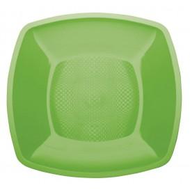 Prato Plastico Raso Verde Limão Square PP 230mm (25 Uds)