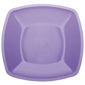 Prato Plastico Raso Lilas Square PP 180mm (25 Uds)