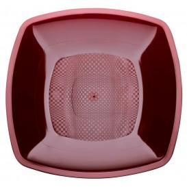 Prato Plastico Raso Bordeaux Square PP 180mm (300 Uds)