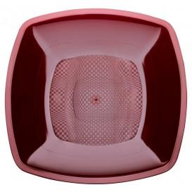 Prato Plastico Fundo Bordeaux Square PP 180mm (300 Uds)