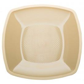 Prato Plastico Raso Creme Square PP 180mm (25 Uds)
