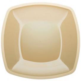 Prato Plastico Raso Creme Square PS 300mm (12 Uds)