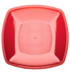 Prato Plastico Raso Vermelho Transp. Square PS 180mm (25 Uds)