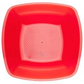 Prato Plastico Fundo Vermelho Transp. Square PS 180mm (25 Uds)