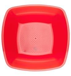 Prato Plastico Fundo Vermelho Transp. Square PS 180mm (300 Uds)
