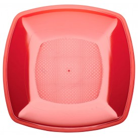Prato Plastico Raso Vermelho Transp. Square PS 230mm (300 Uds)