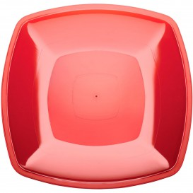 Prato Plastico Raso Vermelho Transp. Square PS 300mm (12 Uds)
