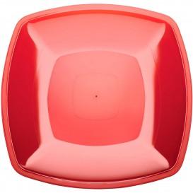 Prato Plastico Raso Vermelho Transp. Square PS 300mm (144 Uds)