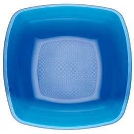 Prato Plastico Fundo Azul Transp. Square PS 180mm (25 Uds)