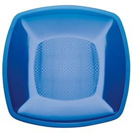 Prato Plastico Raso Azul Transp. Square PS 230mm (300 Uds)