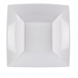 Prato Plastico Fundo Quadrado Prata 180mm (25 Uds)