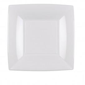 Prato Plastico Raso Quadrado Prata 180mm (150 Uds)