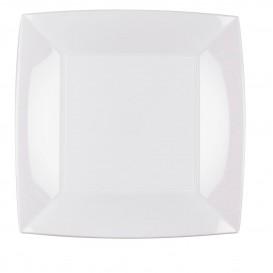 Prato Plastico Raso Quadrado Prata 230mm (25 Uds)