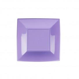 Prato Plastico Raso Quadrado Prata 180mm (25 Uds)